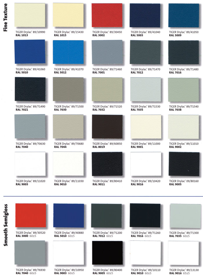 Ral Interior Color Charts |H & H Powder Coating Fenton Mi | H & H