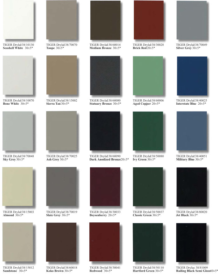Series 38 Super Durable Color Chart Page 1